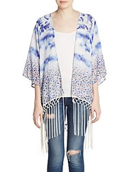 Lucky And Coco Ditsy Floral Print Fringe Kimono Blue Floral
