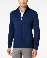 Alfani Men's Dash Line Full Zip Sweater Only At Macy's New Navy Combo