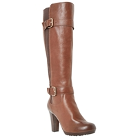 Dune Social Knee High Leather Buckle Detail Boots Tan