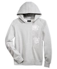 Guess Men's Roy Embroidered Sweatshirt With Zip Off Hood Heather Light Grey