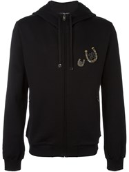 Dolce And Gabbana Horseshoe Clover Applique Hoodie Black