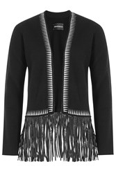 Zadig And Voltaire Cashmere Cardigan With Leather Fringe Black