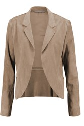 Halston Suede And Cotton Twill Jacket Nude
