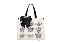 My Flat In London Crown Estates Square Tote Natural Black Tote Handbags Beige