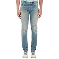 Saint Laurent Men's Faded Destroyed Jeans Blue