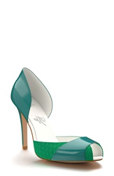 Shoes Of Prey Peep Toe D'orsay Pump Women Blue Green
