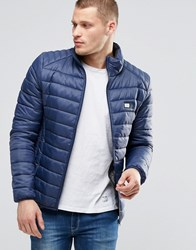 Blend Of America Quilted Nylon Jacket In Navy Navy