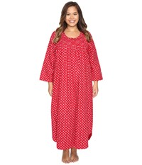 Carole Hochman Plus Size Flannel Long Sleeve Long Gown Falling Pinecones Women's Pajama Red