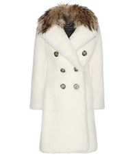 Burberry Fur Trimmed Shearling Coat White