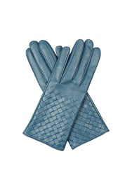 Bottega Veneta Intrecciato Leather Gloves Mid Blue