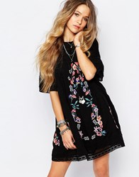 Free People Victorian Embroidered Smock Dress In Black Black