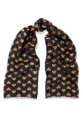 Gucci Intarsia Metallic Knitted Scarf Bronze Midnight Blue