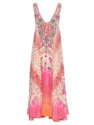 Camilla Sea Serpent Print Silk Maxi Dress