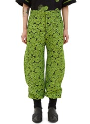 The Autonomous Collections Cuffed Rose Print Pants Green