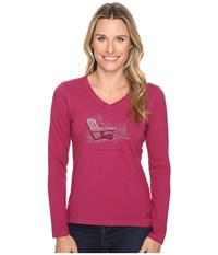 Life Is Good Positive Altitude Adirondack Long Sleeve Crusher Vee Wild Plum Women's Long Sleeve Pullover Burgundy