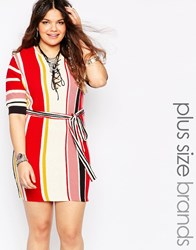 Alice And You Lace Up Stripe Shift Dress Multi