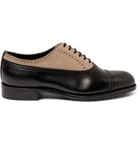 Grenson Foot The Coacher Suede And Leather Brogues Black