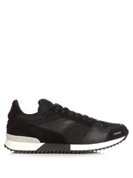 Ami Alexandre Mattiussi Panelled Leather Suede And Mesh Trainers Black Multi