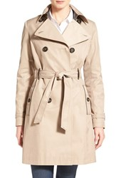 Via Spiga Women's Double Breasted Trench With Faux Leather Trim Sand