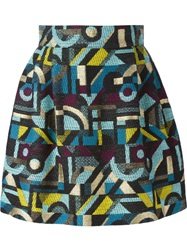 Olympia Le Tan Abstract Woven Circle Skirt Multicolour