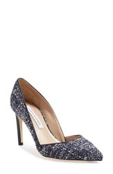 Diane Von Furstenberg Women's 'Lille' D'orsay Pump Navy White Tweed Fabric