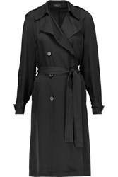 Theory Laurelwood Silk Crepe De Chine Trench Coat Black