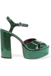 Marc Jacobs Debbie Glittered Leather Platform Sandals Emerald