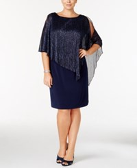 Connected Plus Size Metallic Cape Overlay Dress Navy