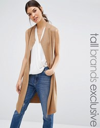 Y.A.S Tall Evita Sleeveless Waterfall Cardigan Camel Tan
