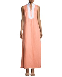 Sail To Sable Classic Linen Sleeveless Maxi Dress Desert Flower White
