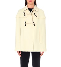 Burberry Capsmoore Wool And Cashmere Blend Cape Natural White