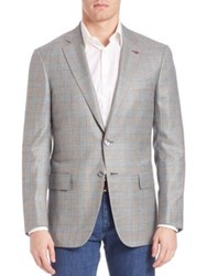 Isaia Plaid Cashmere And Silk Sportcoat Grey