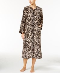 Miss Elaine Plush Fleece Zip Front Long Robe Tan Black Leopard
