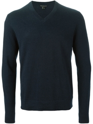 Theory Classic V Neck Sweater Blue