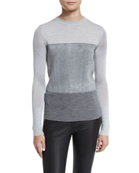 Rag And Bone Marissa Colorblock Crewneck Wool Top Light Gray Light Grey