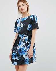 Girls On Film Floral Fit And Flare Dress Blue