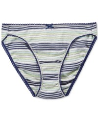Charter Club Pretty Cotton Bikini Grey Navy Stripe