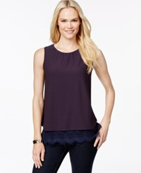 Charter Club Solid Lace Trim Tank Top Only At Macy's