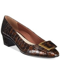Easy Street Shoes Wisteria Pumps Women's Bronze Patent Croco