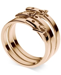 Michael Kors Rose Gold Ion Plated Steel Buckle Rings
