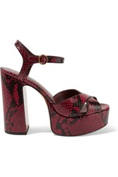 Marc Jacobs Debbie Snake Effect Leather Platform Sandals Burgundy