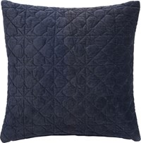 Cb2 August Quilted Navy 16'' Pillow With Down Alternative Insert