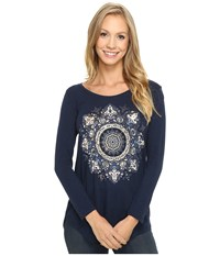 Lucky Brand Gold Mandala Metallic Tee American Navy Women's T Shirt