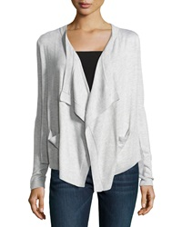 Neiman Marcus Drape Front Open Cardigan Light Heather
