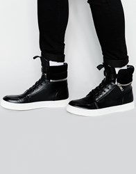 Asos Hi Top Trainers With Zip Cuff Black