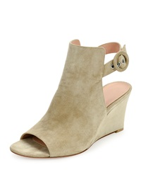 Gianvito Rossi Suede Peep Toe Wedge Sandal Cashmere Cachemire Cace