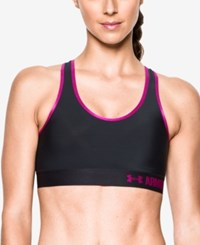Under Armour Heatgear Mid Impact Compression Sports Bra Blac Magenta Shock