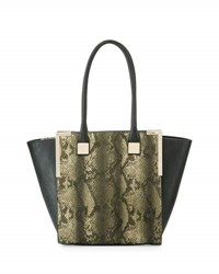 Neiman Marcus Wing Side Faux Leather Tote Bag Grey Snake