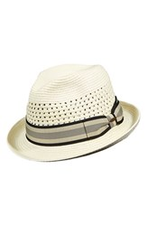 Men's Scala Braided Paper Fedora White Ivory
