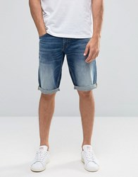 Celio Denim Shorts In Vintage Wash Double Stone Navy